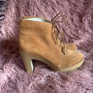 Michael Kors Suede Lace Up Heel Ankle Boots 9